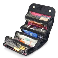 Zodaca 4 Zippered Compartment Roll Up Bathroom Organizer Cosmetic Travel Bag Black >>> To view further for this item, visit the image link. (Note:Amazon affiliate link) #LuggageTravelGear