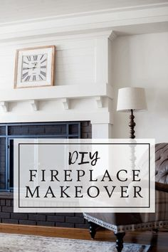 Fireplace Makeover • Le Bois Home Reface Brick Fireplace, Brick Fireplace Remodel, Fireplace Update, Brick Fireplace Makeover, Fireplace Built Ins, Home Fireplace, Fireplace Surrounds, Fireplace Ideas, Fireplace Mantels