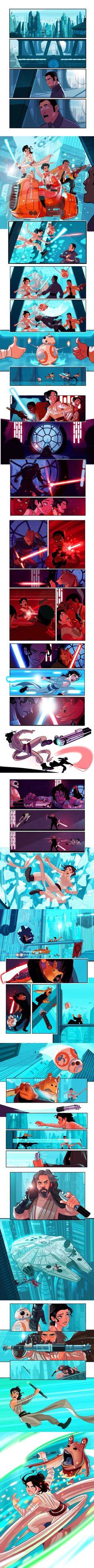 Star Wars The Force Awakens. Rey, Poe, Finn, BB-8