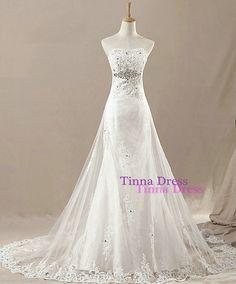 Wedding dress, Strapless wedding gown, Lace princess wedding dress Custom made