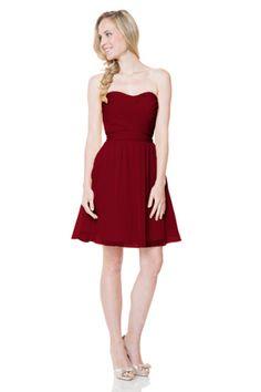 Bari Jay Bridesmaids   STYLE: 1520   Short strapless dress, shirred bodice with extra long self tie sash on back. #Bridesmaids #BridesmaidsDress #WeddingPlanning #FallWedding #RedDress