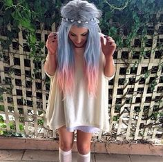 Dip Dyed Blue and Pink Hair with Flower Crown