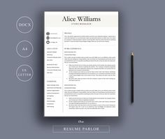 Resume 4 Page | A4 + US Letter by The Resume Parlor on @creativemarket