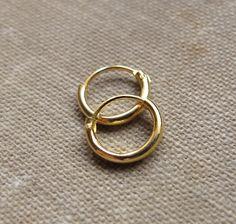 Small Gold Huggie Earrings. Small Hoops Earrings by NadinArtDesign