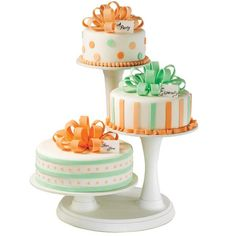 """Adorable Bow Trio Cakes -  from wilton.com they would be great for a """"guys"""" party in more manly colours - Bow Trio Cakes adorable, from wilton.com -"""