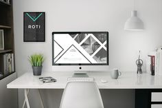 Super amazing creative home office with iMac retina photoshop mockup. Show off your website themes or whatever. Comes also with editable fr. Bureau Design, Workspace Design, Web Design, Modern Design, House Design, Graphic Design, Desk Setup, Coworking Space, Mockup Templates