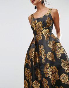 Image 3 ofASOS SALON Beautiful Golden Rose Midi Prom Dress