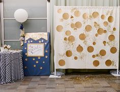 Be Inspired PR Gold Glitter Party on Inspired by This Blog // photobooth with polka dots and confetti