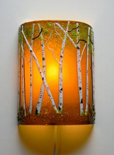 Aspen Grove Fused Glass Sconce Amber by MountinDesigns on Etsy Fused Glass Art, Dichroic Glass, Mosaic Glass, Stained Glass Night Lights, Glass Fusion Ideas, Melting Glass, Glass Fusing Projects, Isomalt, Stained Glass Patterns