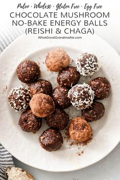 Boost your immunity with these antioxidant rich Chocolate Mushroom Paleo No-Bake Energy Balls, and learn the amazing health benefits of reishi and chaga mushrooms! Paleo Recipes, Real Food Recipes, Snack Recipes, Dessert Recipes, Cheesecake Recipes, Easy Recipes, Whole 30 Recipes, Sweet Recipes, Energy Balls