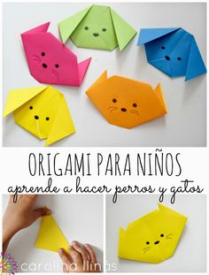 Head to the webpage to learn more on Step by Step Origami Gato Origami, Origami Mouse, Kids Origami, Origami Star Box, Origami Fish, Origami Paper, Origami For Children, Diy For Kids, Crafts For Kids