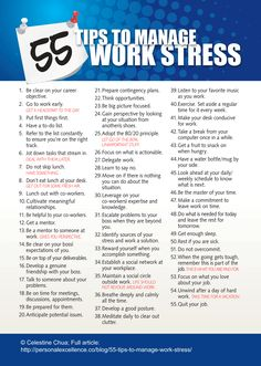 55, count 'em, 55, ways to manage work stress!