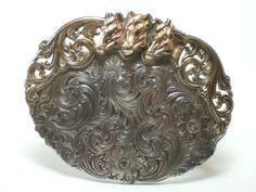 Vintage Mark Drain Original Silver Gold Three Horse Western Belt Buckle   eBay