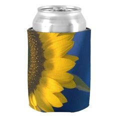 #Sunflower on Blue #Wedding Can Cooler Keep your cans cool with the pretty Sunflower on Blue Wedding Can Cooler. This elegant custom botanical wedding can cooler features a floral photograph of a yellow sunflower blossom with a blue background. Perfect for the cold canned beverages served at the reception of your casual or classy summer, fall or sunflower wedding theme. #sunflowerwedding #koozies #weddingfavors #favors