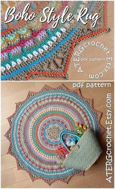 Love this gorgeous boho-style mandala rug crochet pattern! Another awesome crochet pattern find! Check out craftevangelist's crafty finds at craftevangelist.I'm really attracted to boho style, but I find it really hard to incorporate into my house becau Motif Mandala Crochet, Mandala Rug, Crochet Flower Patterns, Crochet Designs, Crochet Doilies, Crochet Rugs, Diy Crochet Rug Pattern, Tutorial Crochet, Crochet Puff Flower