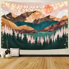 Sevenstars Mountain Tapestry Forest Tree Tapestry Sunset Tapestry Nature Landscape Tapestry Wall Hanging for Tapestry Nature, Moon Tapestry, Tree Tapestry, Tapestry Bedroom, Mandala Tapestry, Tapestry Wall Hanging, Bedroom Wall, Bedroom Decor, Tapestry Ceiling