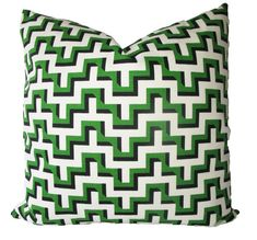 Decorative HGTV Chevron Jigsaw Emerald Green, 18x18, 20x20, 22x22 or Lumbar, Geometric Throw Pillow