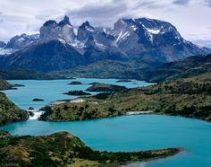 Torres del Paine, Chile. Torres del Paine rise over 8000 feet above Lago Pehoe - Torres del Paine National Park, Chile.  Photo by Jack Brauer.