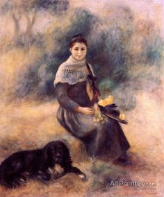 Pierre Auguste Renoir Young Girl With A Dog oil painting reproductions for sale