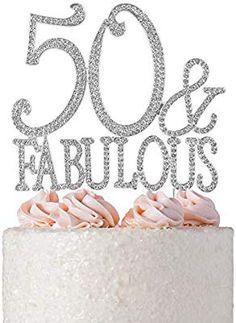 Amazon.com: 50&Fabulous Rhinestone Birthday Cake Topper | 50th Party Decoration Ideas | Premium Sparkly Crystal Diamond Gems | Quality Metal Alloy (50&Fab Silver): Kitchen & Dining 90th Birthday Parties, 50th Birthday Party, Anniversary Parties, Birthday Party Decorations, Gem Cake, 40th Cake, 40 And Fabulous, Fabulous Birthday, Birthday Cake Toppers