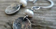 Overcast Earrings - Handmade. Freshwater Pearls. Oxidized Hammered Sterling Silver - handmade jewelry - handmade earrings - etsy - artisan jewelry