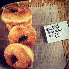 Glazed donuts. Chase farm of Whitefield at the Damariscotta farmer's market. Maine!