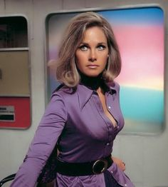 Wanda Ventham (mum of Benedict Cumberbatch) as 'Colonel Virginia Lake' in Gerry Anderson's 1970 science fiction series 'UFO' Sherry Jackson, Yvonne Craig, Ufo Tv Series, Sci Fi Series, Wanda Ventham, Katharine Ross, Sci Fi Tv Shows, Science Fiction Series, Cosplay Costume