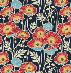Notting Hill Sateen by Joel Dewberry for Free Spirit Fabrics - Pristine Poppy Sateen in Midnight (SAJD019.Midnight)