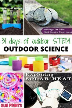 Outdoor science activities for kids summer STEM! Part of our 31 Days of Outdoor STEM series includes natural and physical sciences, chemistry, art and science, and more summer science ideas for kids!