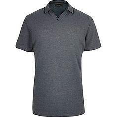 Blue stripe open collar polo shirt
