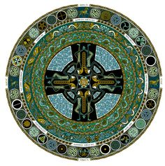 "celtic style Christian mandala.  The cross in the centre of a circle is an ancient symbol, dating back to the ""medicine wheels"" of 10,000 or more years ago."