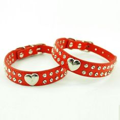 Enjoying Puppy Dog Pet Doggie Cats Leather Collars Necklaces With Lovely Heart Charm Bling Crystal Red-Extra Small *** Read more  at the image link.