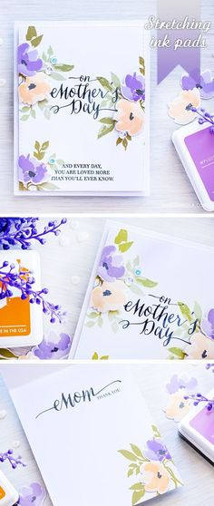 Gorgeous floral hand stamped Mother's Day Card using WPlus9 Watercolored Anemones stamp set. Video tutorial included! http://www.yanasmakula.com/?p=53441