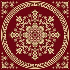 Stock vector of 'set Traditional vintage golden square and round Greek ornament (Meander) and floral pattern on a red background'