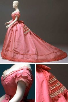 Ball gown, Emile Pingat, Paris, ca. 1867. Silk faille with row of ruched pink tulle and satin-trimmed tulle tabs. Lace, tulle, beads, and seed pearls decorate the large bow at the back of the waist, ending in broad streamers. The tulle and satin trim is repeated at the neck and short sleeves. Albany Institute of History and Art