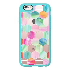 iPhone 7 Plus/7/6 Plus/6/5/5s/5c Case - Pink, Mint & Teal Crystal... ($40) ❤ liked on Polyvore featuring accessories, tech accessories, new standard iphone case, crystal iphone case, iphone cases, apple iphone case, iphone hard case and mint green iphone case