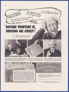Vintage 1937 HAMMERMILL BOND Paper Printing Production Supplies Print Ad 30's #HammermillBond