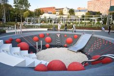 The best playground in Moscow ! Modern Playground, Natural Playground, Playground Design, Backyard Playground, Urban Landscape, Landscape Design, Cool Playgrounds, Design Jardin, Parking Design
