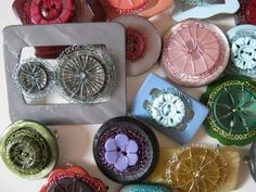 Vintage Button brooches -  Unique upcycling of buttons and buckles by Judith Brown Jewellery www.judithbrownjewellery.co.uk