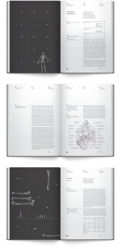 Beautiful typesetting and grid. Anatomy book. Osteology by Irene Shkarovska, via Behance