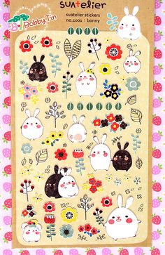 Rabbits Stickers Scrapbooking Card-making Cute bunny by BobbyTin