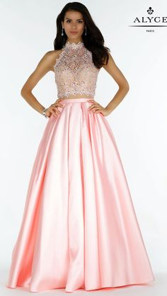 Prom Dresses Evening Dresses by ALYCE PARIS<BR>aay6738<BR>Full mikado skirt, lace halter crop top with a beautiful strappy back.