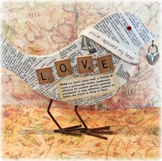 LOVE Altered Wood Bird Cut out  Tabletop Decoupage by Papersilly