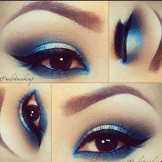 Shades of blue eyeshadow makeup look #eyes