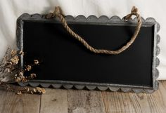 industrial decor- hanging chalkboard- metal and rope hanging board
