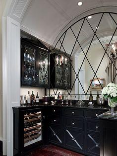 diamond pattern antiqued mirrored backsplash tiles | kitchens