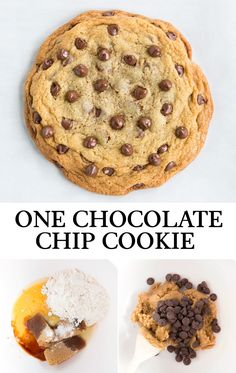 A recipe for just one big Chocolate Chip Cookie! Perfect for two (or for one, and you can save half for later), or it's a fun baking project to do with Single Serve Cookie, Single Serve Desserts, Easy Desserts, Delicious Desserts, Dessert Recipes, Single Serving Chocolate Chip Cookie Recipe, One Big Cookie Recipe, Giant Cookie Recipes, Chicolate Chip Cookies