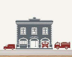 Fire+Station+/+Fire+House+Fire+Trucks+Vinyl+by+decomodwalls,+$40.00