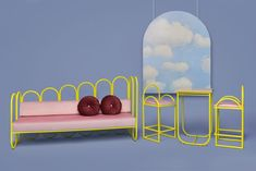 DESIGN: Arco and Wink by Masquespacio - Huskdesignblog | Masquespacio | Ana Hernandez | pink sofa | colorful couch | yellow sofa | metal base sofa | daybed | colorful sofa | burgundy pillows | new collection 2017 | Spanish design furniture | Spanish design | set design | interior styling | interior design trends 2017 | living room furniture set | purple walls | colorful interior | sofa metal frame | yellow arches | arch window | design breaking news | yellow high stools