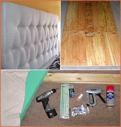 {DIY Tufted Headboard}    From: Apartment Therapy  Cost: $110  TOOLS & SUPPLIES:  1/2″ Plywood  1×4″ Lumber  Foam (at least 2″ thick)  Polyester Batting Upholstery  Fabric  Upholstery Thread  Upholstery Needle  Button Kit and Buttons  Scissors  Spray Adhesive  Wood screws  Bolts  Staple Gun and 1/2″ Staples  Tape measure  Drill Hammer  Optional but helpful: Rubber Mallet Electric Knife